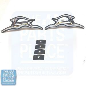 1970 72 Impala Oe Factory Metal Door Panel Chrome Emblems Pair