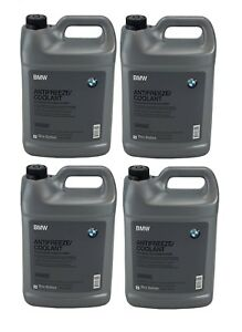 For Bmw Set Of 4 Gallons Engine Coolant Antifreeze Fluid Blue 100 Concentrated