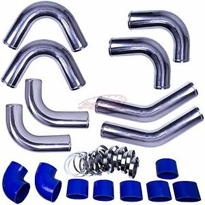 Rev9 Blue 4 Universal Turbo Aluminum Intercooler Piping Pipe Kit silicone clamp