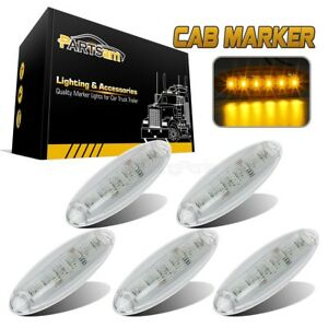 5 Clear Cab Clearance Roof Running 6 Led Amber Light For Freightliner Cascadia