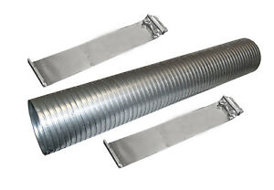 36 Galvanized Flexible Exhaust Tubing 5 Diameter Flex Pipe With 2 Band Clamps