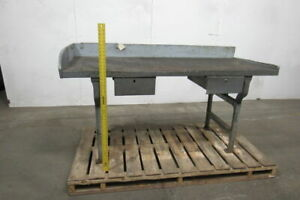 74 Vintage Industrial Cast Iron Wood Work Bench Table Station