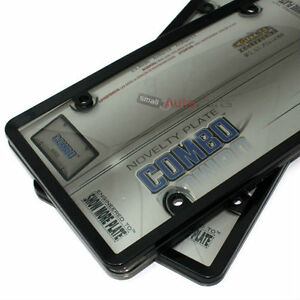 2 Black Plastic License Plate Tag Frames Smoked Shield Covers For Car Truck