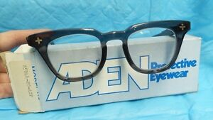 Aden Protective Eyewear Safety Glasses Horn Rim Vtg Style Nos S5044 20 acp 38mm