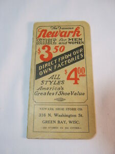 Newark Shoe Store Co Green Bay Wi Antique Pocket Memo Notepad Book Adv T