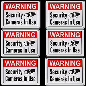 6 Security Home Surveillance Ccd Video Camera System Warning Alarm Signs