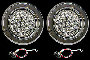 4 Led Clear red Chrome Boat Trailer Stop Turn Lights