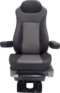 200l Two Tone Gray Leather Air Suspension Air Ride Truck Bus Van Seat