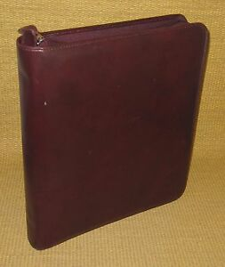 Monarch folio 1 5 Rings Burgundy Leather Day timer Zip Planner binder