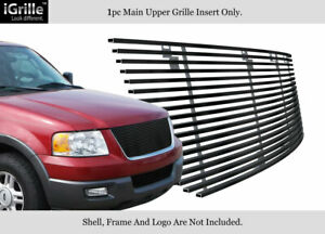 Fits 2003 2006 Ford Expedition Black Stainless Steel Billet Grille Insert