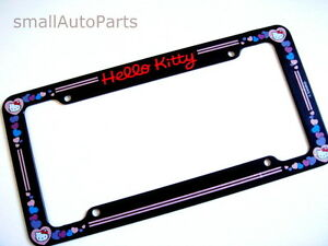 New Hello Kitty License Plate Tag Frame Car Truck Suv Custom Black Blue Pink