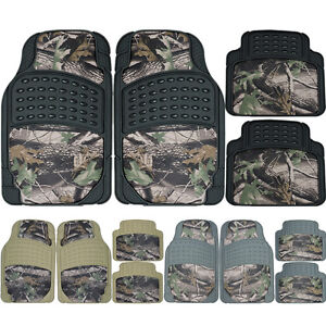 Jungle Forest Hunting Camo Car Camouflage Front Rear Rubber Floor Mats Set