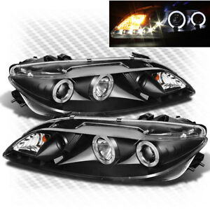 For 03 06 Mazda 6 Twin Halo Drl Led Pro Blk Headlights fog Lights Lamp Pair