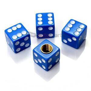 4 Blue Dice Cube Tire Wheel Stem Air Valve Caps Covers Car Truck Hot Rod Atv