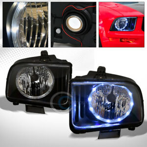 Black Clear Drl Led Halo Ring Head Lights Lamps Pair Nb 2005 2009 Ford Mustang