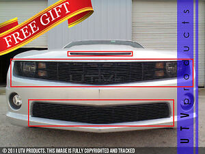 Gtg 2010 2013 Chevy Camaro Ss 3pc Gloss Black Phantom Combo Billet Grille Kit