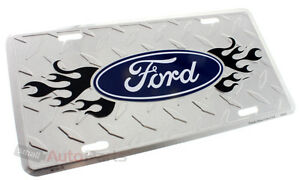 Ford Logo License Plate Aluminum Chrome Diamond Stamped Metal Auto Car Truck Tag
