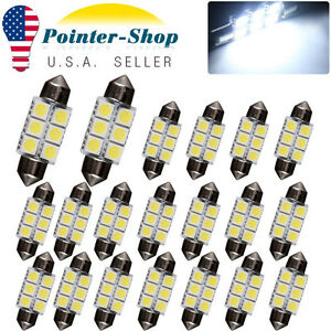 20x Super White 36mm 5050 6smd Festoon Led Interior Lights Bulbs C5w De3423 6418