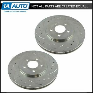 Performance Brake Rotor Drilled Slotted Front Zinc Coated Pair For Ford