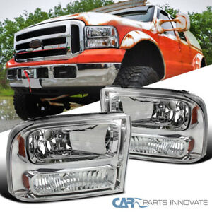99 04 Ford F250 F350 Superduty 00 04 Excursion Chrome Clear 1pc Style Headlights