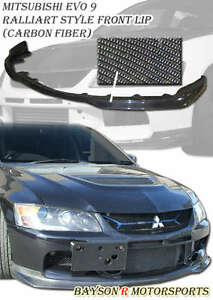 Ral style Front Lip carbon Fits 06 07 Mitsubishi Evo 9 evo Bumper Only