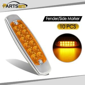 10x 6 15 led Marker Clearance Light 12led Pigtail Connector Amber Trailer Lights