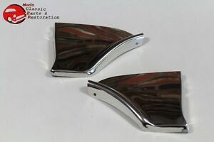1962 Chevy Impala Rear Fender Skirt Trim Stainless Steel Scuff Pads Pair New