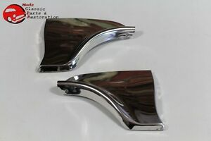 1963 Chevy Impala Rear Fender Skirt Trim Stainless Steel Scuff Pads Pair New