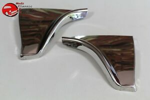 1960 Chevy Impala Rear Fender Skirt Trim Stainless Steel Scuff Pads Pair New