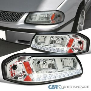 For 00 05 Chevy Impala Replacement Chrome Clear Led Headlights Signal Lamps Pair