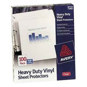 Avery Sp119 Top Loading Sheet Protector 100 Sheet Capacity Letter 8 50 X 11