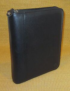 Classic 1 5 Rings Black Leather Franklin Covey Zip Planner binder W Pocket