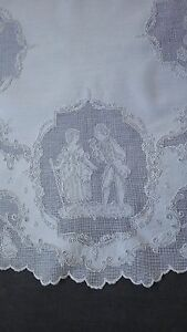Fantastic Round Appenzell Embroidery Topper 4 Medallions W Aristocratic Couples