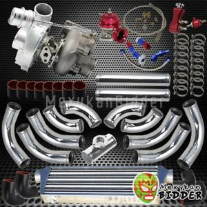 T3 t4 63 Ar 400 hp Upgrade Chrome Intercooler Piping V band Turbocharger Kit