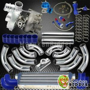 Universal T3 t4 V band Turbo Charger Kit Chrome Piping intercooler coupler Blue