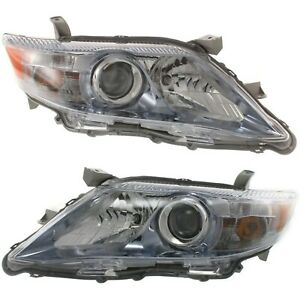 Headlight Set For 2010 2011 Toyota Camry Hybrid Left And Right Chrome Housing