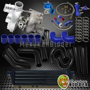 Universal 2 5 Black Intercooler Piping V band Turbo Kit W s rs Bov coupler Blue