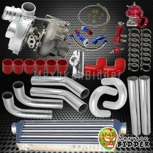 Stage 3 T3 t4 V band Turbo Upgrade Kit W chrome Piping Intercooler couplers Red