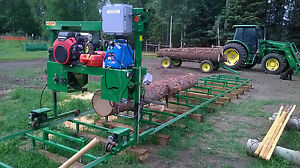 Bandsaw Mill Sawmill Farmhawk 24 With Honda V Twin 30 Track power Feed set