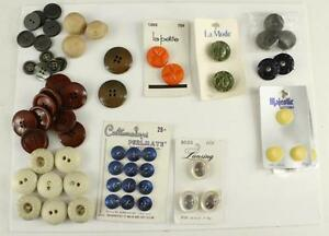 Vintage Sewing Craft Button Lot Celluloid Plastic Lucite Variety Colors