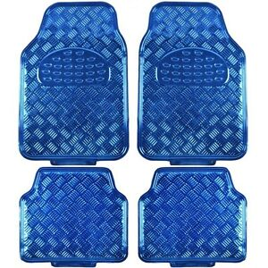 New Chrome Blue Metallic Car Truck Front Back All Weather Rubber Floor Mats