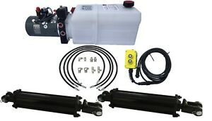 Dual Cylinder 7 X 14 Dump Trailer Kit With Double Acting Kti Pump