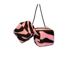Brand New Safari Pink Zebra Print Car Truck Rear View Mirror Hanging Fuzzy Dice