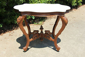 Victorian Rococo Turtle Marble Top Table With Grape And Leaf Carved Legs