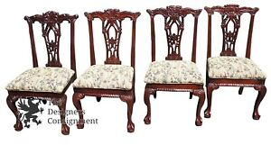 4 Stunning Chippendale Style Mahogany Carved Dinning Room Chairs Designe