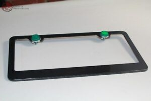 Carbon Fiber Wide Bottom License Plate Frame Green Reflectors Truck Hot Rod Car