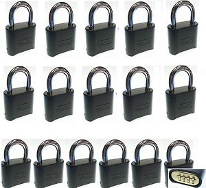 Combination Lock Set By Master 178dblk lot 16 Resettable Brass Insert Black