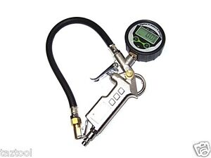 Air Tire Inflator With High Accurate Digital Pressure Gauge W Clip Pistol Type