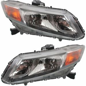 Halogen Headlight For 2012 Honda Civic Left Right W Bulbs Pair