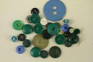 Vintage Sewing Craft Button Mixed Lot Celluloid Plastic Greens Blues